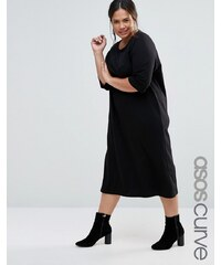 ASOS CURVE - Midi-T-Shirt-Kleid aus Baumwolle mit Raglan-Ärmeln und U-Boot-Ausschnitt - Schwarz