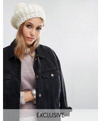 Reclaimed Vintage - Béret épais en tricot avec pompom - Taupe