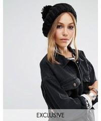 Reclaimed Vintage - Béret épais en tricot avec pompom - Noir