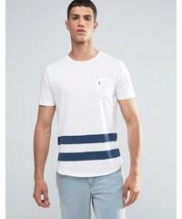 Ringspun - Baseball - T-shirt avec poche et ourlet arrondi - Blanc