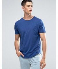 Ringspun - T-shirt avec poche effet coupé-cousu et ourlet arrondi - Bleu