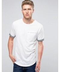 Ringspun - T-shirt avec poches, ourlets à revers et ourlet arrondi - Blanc