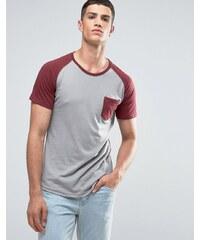 Ringspun - T-shirt à poche et manches raglan avec ourlet arrondi - Gris