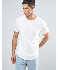 Ringspun - T-shirt avec poche effet coupé-cousu et ourlet arrondi - Blanc