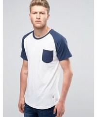 Ringspun - Raglan-T-Shirt mit Tasche und Rundsaum - Weiß