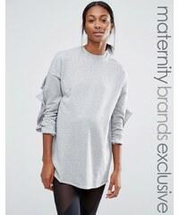 Bluebelle Maternity - Lounge-Sweatshirt mit gerafften Ärmeln - Grau