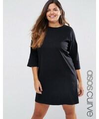 ASOS CURVE - T-Shirt-Kleid in Minilänge mit Raglanärmeln und U-Boot-Ausschnitt - Schwarz