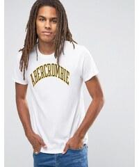 Abercrombie & Fitch - Weißes, schmal geschnittenes T-Shirt mit aufgesticktem Logo - Weiß