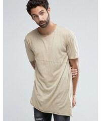 Pull&Bear - T-shirt asymétrique - Sable - Beige