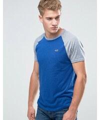Hollister - Must Have - Schmales, blaues Ringer-T-Shirt mit Logo - Blau