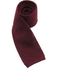 Hedvábná pletená kravata - vínová