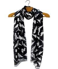 Disaster černo-bílý šátek Penny Black Bird