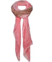 Claudio Cutuli ELIS-2 luxuriöser Schal mit Lederbesatz Rosa