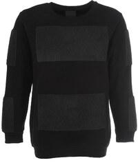 Trinitas Sweatshirt Schwarz mit Frottee Einsätzen