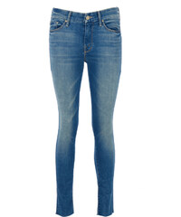 Mother LOOKER ANKLE FRAY Skinny Jeans in Blau