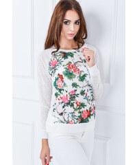 Bílý svetřík, tričko s květy - C6165 velikost: M/L, odstíny barev: bílá