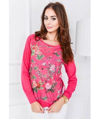 Růžový svetřík, tričko s květy - C6165 velikost: M/L, odstíny barev: růžová
