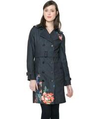 Desigual černý kabát Marina s barevnými výšivkami
