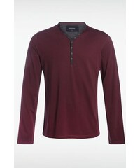 T-shirt homme col tunisien Rouge Coton - Homme Taille L - Bonobo