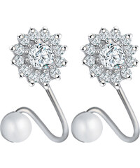 Lesara Ohrstecker mit Ear-Cuff im Blüten-Design - Silber
