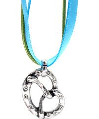 Lesara 2-gliedrige Halskette mit Brezel-Anhänger - Blau