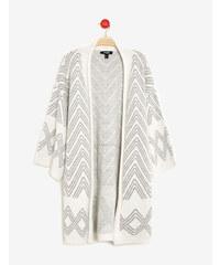 gilet long forme kimono écru et gris Jennyfer