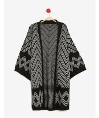 gilet long forme kimono noir et écru Jennyfer