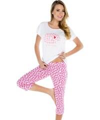 Italian Fashion Dámské pyžamo Amor bílo růžové