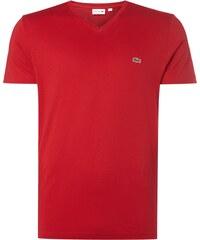Lacoste T-Shirt mit V-Ausschnitt und Logo-Badge