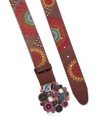 Desigual hnědý pásek Chapón Belt Dakota s barevnými mandalami