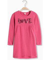 Esprit Bavlněné pletené šaty s flitrovým LOVE