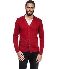 Pánský svetr na knoflíky Vincenzo Boretti - červený