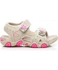 HAKER Roztomilé růžovo-krémové dětské sandály