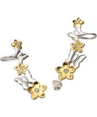 FIRETTI Ohrstecker mit Ohrklemme Ear Cuffs Blumen und Schmetterlinge
