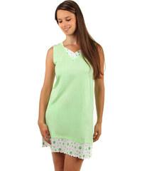 YooY Noční košilka s ozdobným lemem zelená