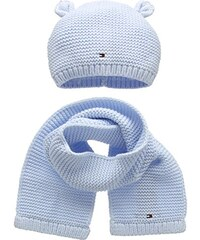 Tommy Hilfiger Baby-Jungen Mütze Hat and Scarf Boy Set, Blau (Blue 482), One size