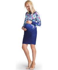 Happymum Modré květované těhotenské šaty Charming
