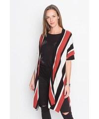 Cape rayures verticales Blanc Acrylique - Femme Taille T.U - Cache Cache
