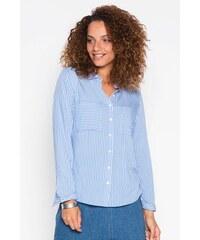 Chemise fines rayures bicolores Bleu Viscose - Femme Taille 0 - Cache Cache