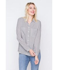Chemise fines rayures bicolores Noir Viscose - Femme Taille 0 - Cache Cache