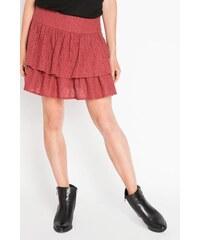Jupe dentelle à volants Rouge Coton - Femme Taille 34 - Cache Cache