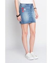 Jupe en jean patchs Bleu Polyester - Femme Taille 36 - Cache Cache