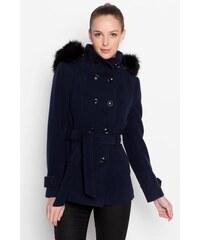 Manteau uni et fausse fourrure Bleu Polyester - Femme Taille 1 - Cache Cache