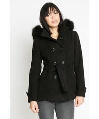 Manteau uni et fausse fourrure Noir Polyester - Femme Taille 1 - Cache Cache