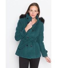 Manteau uni et fausse fourrure Vert Polyester - Femme Taille 1 - Cache Cache