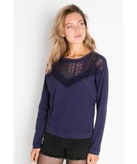 Pull maille ajourée et franges Bleu Polyester - Femme Taille 0 - Cache Cache
