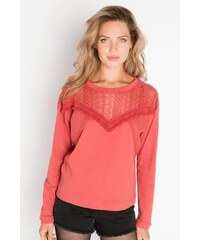 Pull maille ajourée et franges Rouge Polyester - Femme Taille 0 - Cache Cache