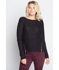 Pull maille fantaisie bicolore et zips Noir Polyester - Femme Taille 0 - Cache Cache