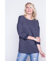 Pull manches 3/4 revers Bleu Fil metallise - Femme Taille 0 - Cache Cache