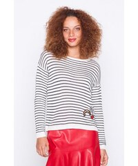 Pull marinere patchs Blanc Acrylique - Femme Taille 0 - Cache Cache